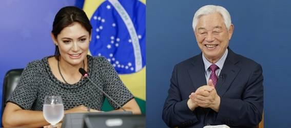 Michelle Bolsonaro se reúne com o Pr Ock Soo Park para falar sobre a expansão do evangelho no Brasil